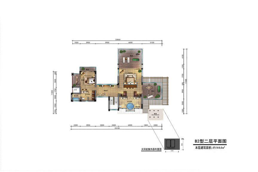 五期游艇别墅外观B2型二层平面2室1厅2卫1