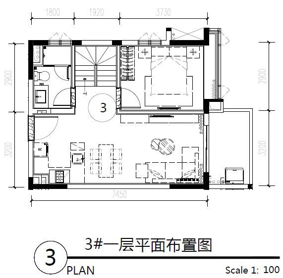 主力户型图-三房两卫 64.08㎡