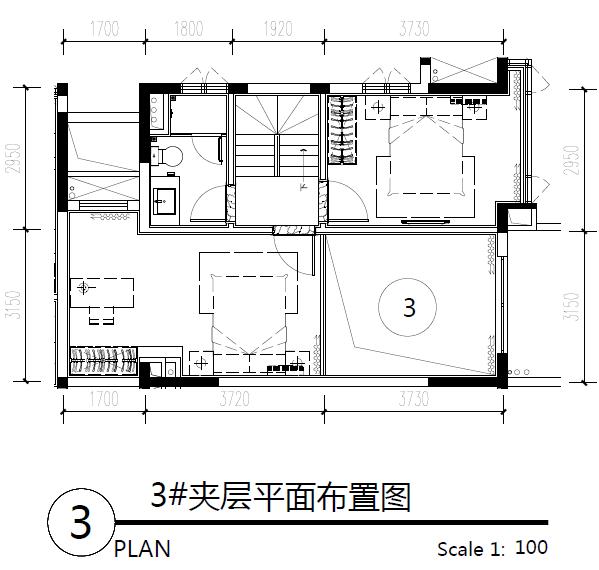 主力户型图-三房两卫1 64.08㎡
